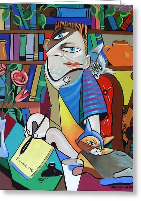 Cubism Prints Greeting Cards - My First Novel Greeting Card by Anthony Falbo