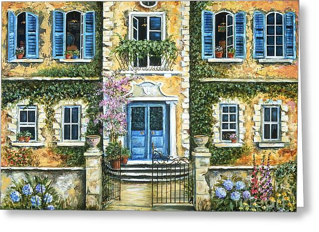 Villa Paintings Greeting Cards - My French Villa Greeting Card by Marilyn Dunlap