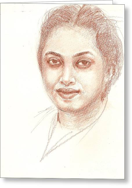 Conte Pencil Drawings Greeting Cards - My friend Greeting Card by Asha Sudhaker Shenoy