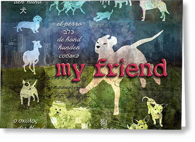 Whippet Greeting Cards - My Friend Dogs Greeting Card by Evie Cook