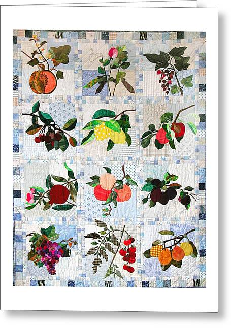 Orange Tapestries - Textiles Greeting Cards - My Fruit Quilt by Jan Olpin Greeting Card by Jan Olpiin