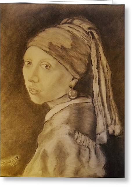 Girl With A Pearl Earring Greeting Cards - My Girl with a Pearl Earring Greeting Card by Jose A Gonzalez Jr
