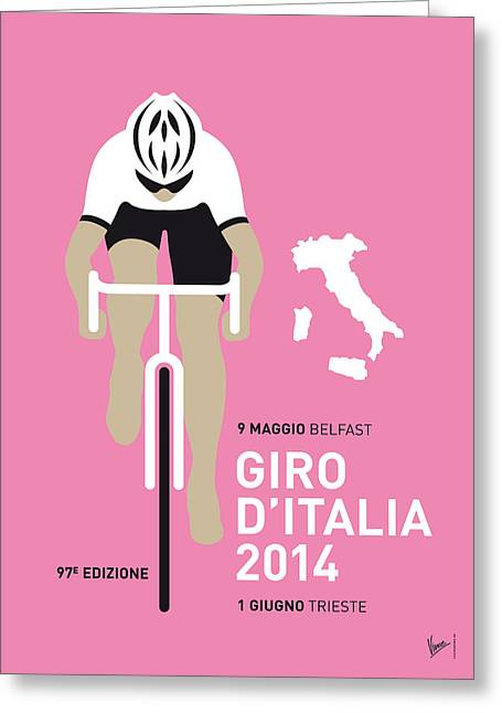 Cycles Greeting Cards - My Giro D Italia Minimal Poster 2014 Greeting Card by Chungkong Art