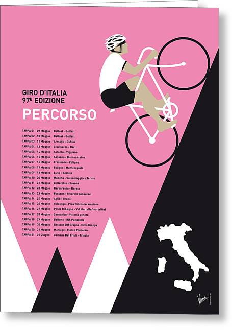 Contador Greeting Cards - My Giro D Italia Minimal Poster 2014-percoso Greeting Card by Chungkong Art