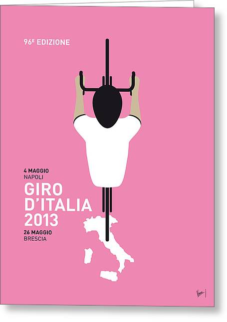 Cycles Greeting Cards - My Giro Ditalia Minimal Poster Greeting Card by Chungkong Art