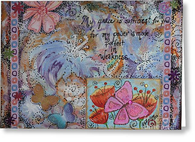 Religious Mixed Media Greeting Cards - My Grace Greeting Card by Jennifer Lueders