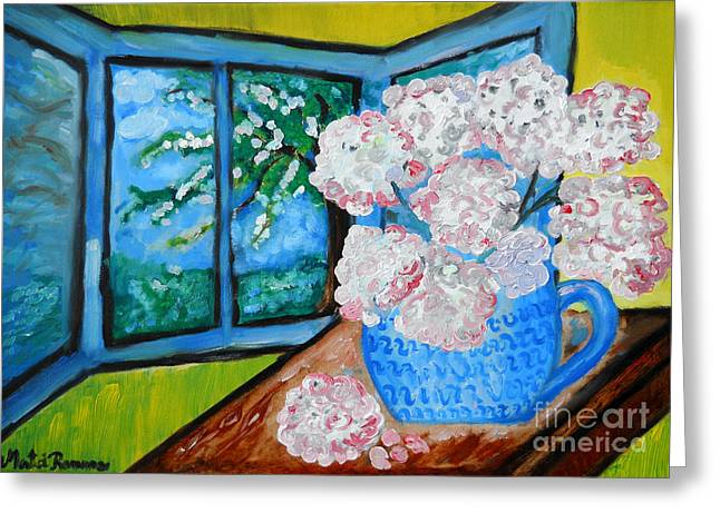 Flower Still Life Prints Greeting Cards - My Grandma s Flowers   Greeting Card by Ramona Matei