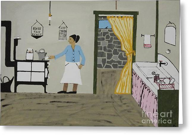 Coal Miners Wife Greeting Card by Jeffrey Koss
