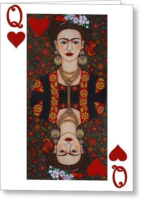Madalena Lobao-tello Greeting Cards - Frida Kahlo Queen of Hearts II  Greeting Card by Madalena Lobao-Tello