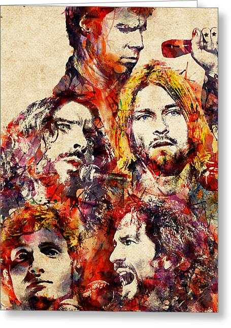 Pearl Jam Mixed Media Greeting Cards - My Grunge Heroes watercolor Greeting Card by Marian Voicu