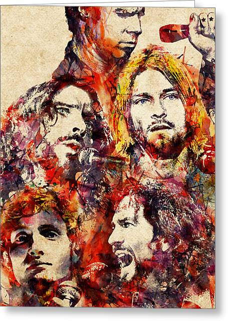 Kurt Greeting Cards - My Grunge Heroes watercolor Greeting Card by Marian Voicu
