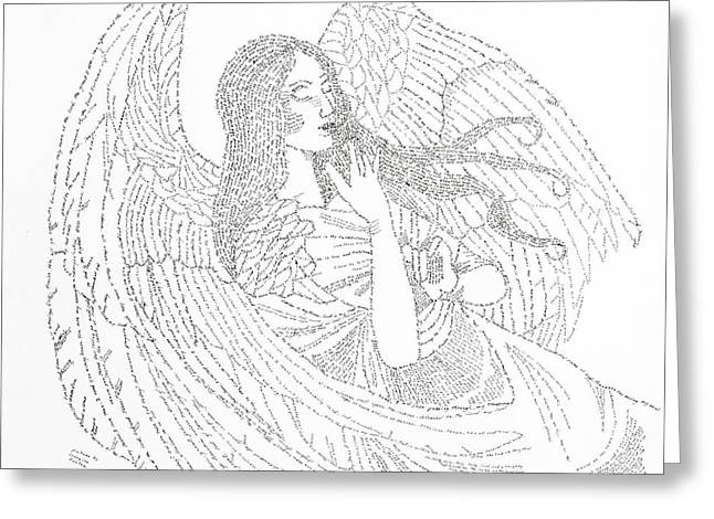 Guardian Angel Drawings Greeting Cards - My Guardian Angel Greeting Card by Lorraine Foster