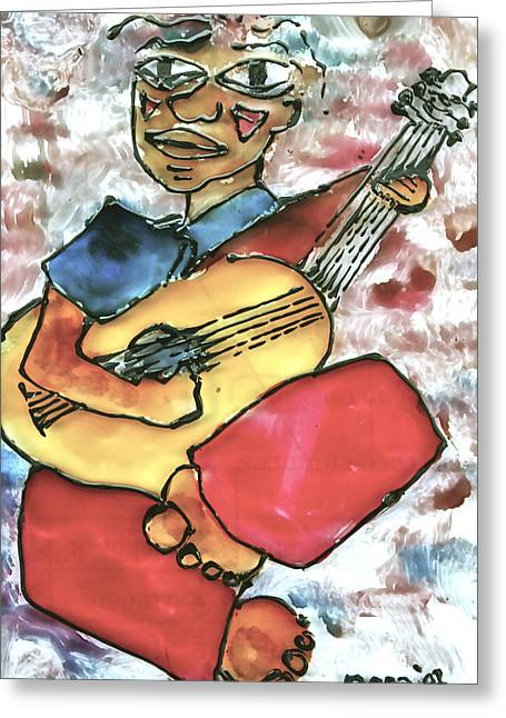 Men Glass Greeting Cards - My Guitarist Greeting Card by Carol Mallillin-Tsiatsios