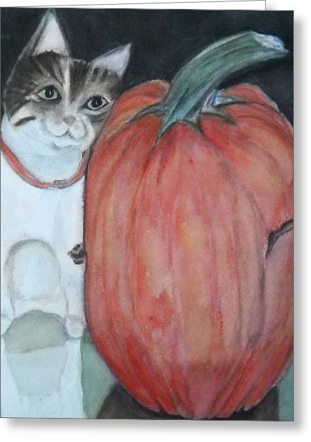 Marian Hebert Greeting Cards - My guy and the Pumpkin Greeting Card by Marian Hebert