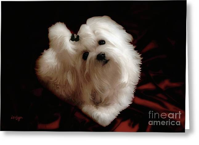 White Maltese Greeting Cards - My Heart My Muse Greeting Card by Lois Bryan