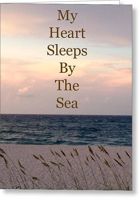 Words Pyrography Greeting Cards - My Heart Sleeps By The Sea Greeting Card by Maya Nagel