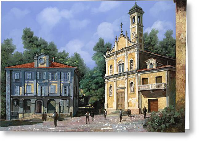 City Hall Greeting Cards - My Home Village Greeting Card by Guido Borelli