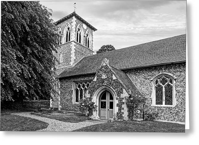 Entrance Door Greeting Cards - My House Is Yours - Ancient Stone Church Black and White Greeting Card by Gill Billington