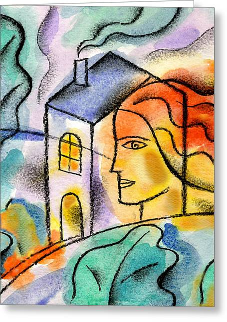 My House Greeting Card by Leon Zernitsky