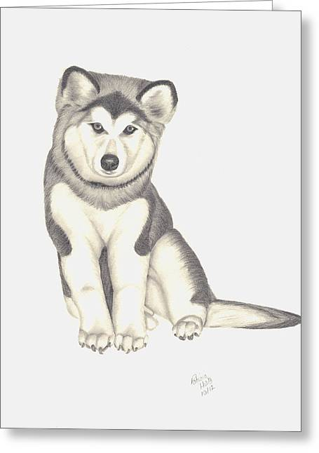 Puppies Drawings Greeting Cards - My Husky Puppy-Misty Greeting Card by Patricia Hiltz