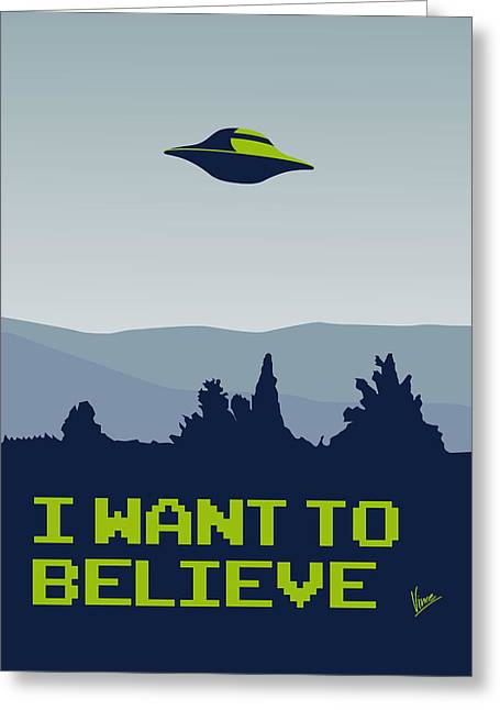 Alien Greeting Cards - My I want to believe minimal poster Greeting Card by Chungkong Art