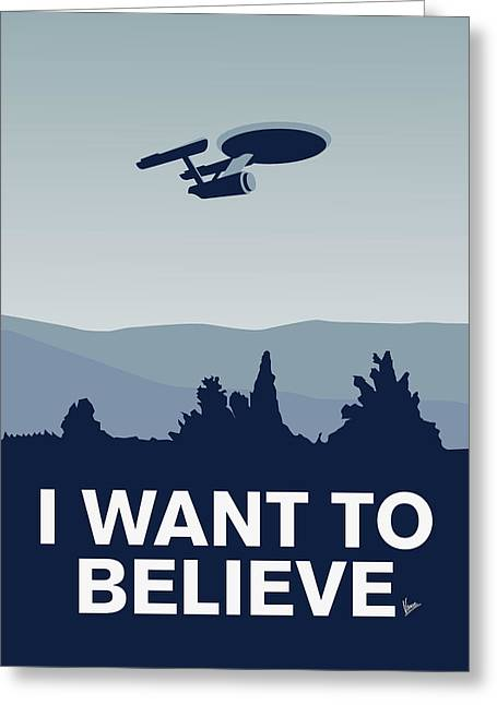 Spaceships Greeting Cards - My I want to believe minimal poster-Enterprice Greeting Card by Chungkong Art