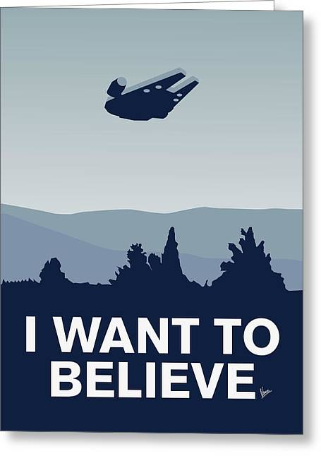 Spaceships Greeting Cards - My I want to believe minimal poster-millennium falcon Greeting Card by Chungkong Art