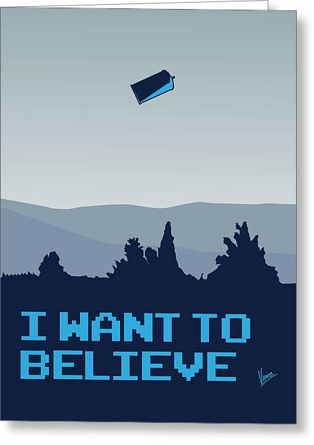 Alien Greeting Cards - My I want to believe minimal poster- tardis Greeting Card by Chungkong Art