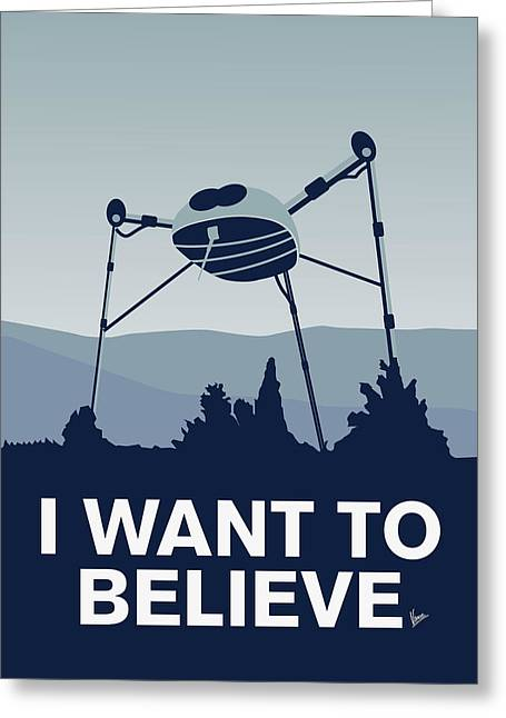 Spaceships Greeting Cards - My I want to believe minimal poster-war-of-the-worlds Greeting Card by Chungkong Art