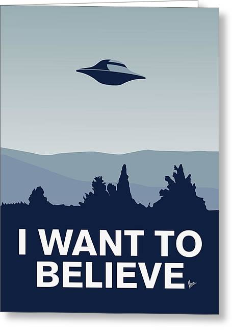 Spaceships Greeting Cards - My I want to believe minimal poster-xfiles Greeting Card by Chungkong Art