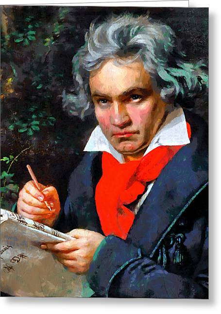Pianist Mixed Media Greeting Cards - My Immortal Beloved - Beethoven Greeting Card by Georgiana Romanovna