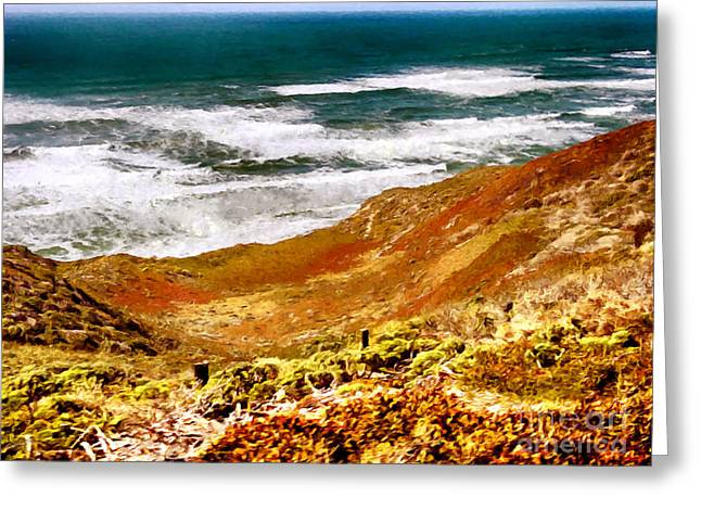 Big Sur California Mixed Media Greeting Cards - My Impression of California Coastline Greeting Card by  Bob and Nadine Johnston