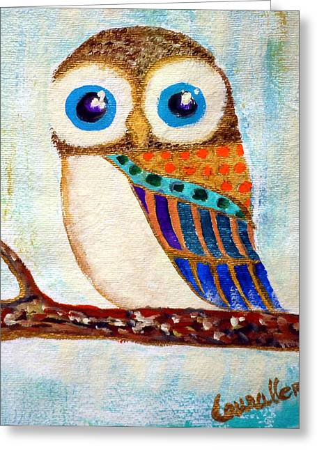 Imaginary Owl Greeting Cards - My jeweled owl Greeting Card by Laura Herzog