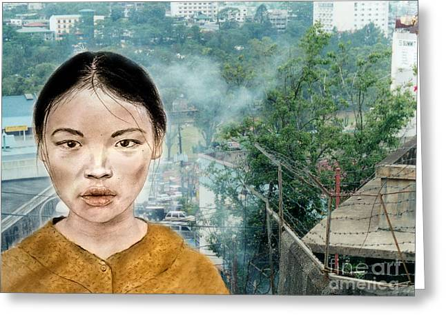 Straps Greeting Cards - My Kuiama a Young Vietnamese Girl Version II Greeting Card by Jim Fitzpatrick