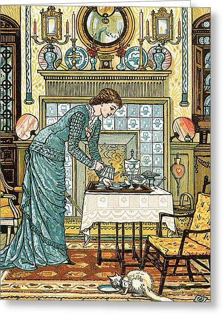 Coffee Drinking Paintings Greeting Cards - My Ladys Chamber Greeting Card by Walter Crane