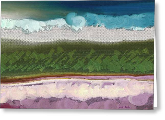 Purple Abstract Greeting Cards - My Landscape Greeting Card by Lenore Senior