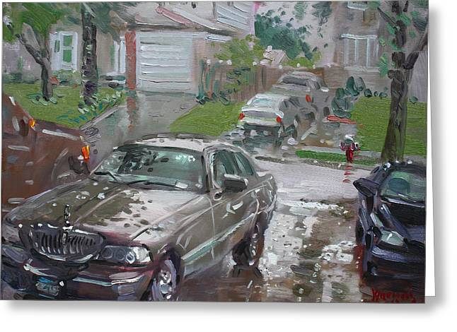 Lincoln Paintings Greeting Cards - My Lincoln in the Rain Greeting Card by Ylli Haruni
