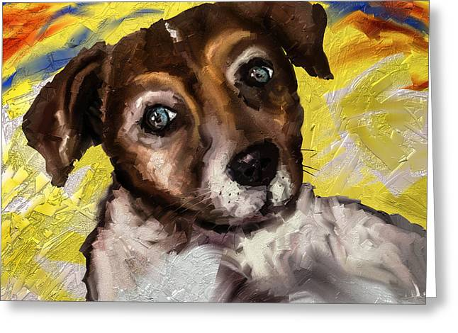 Puppies Paintings Greeting Cards - My little Jack Greeting Card by Alessandro Della Pietra