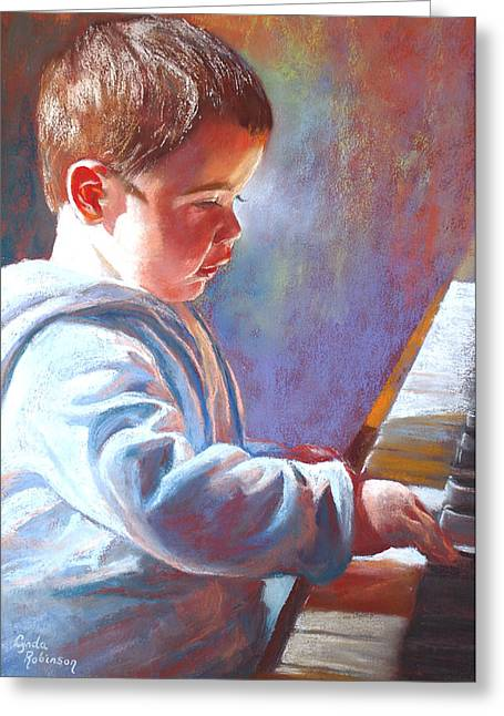 Lynda Robinson Greeting Cards - My Little Mozart Greeting Card by Lynda Robinson