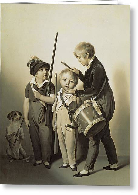 Dressing Up Greeting Cards - My Little Soldiers, 1809 Oil On Canvas Greeting Card by Louis Leopold Boilly