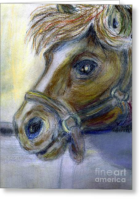 Watching Pastels Greeting Cards - My Little Stable Pony Greeting Card by Madeline Moore