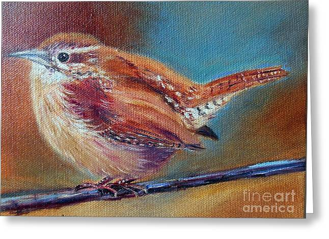 Little Cabin Greeting Cards - My little Wren Greeting Card by Patricia Pushaw