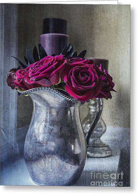Silver Pitcher Greeting Cards - My Love is Like a Red Red Rose Greeting Card by Terry Rowe