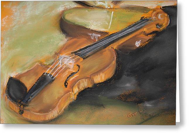 Instruments Pastels Greeting Cards - My Lttle Violin Greeting Card by Gitta Brewster