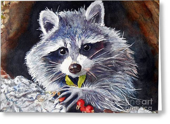 Raccoon Paintings Greeting Cards - My Lunch Greeting Card by Patricia Pushaw