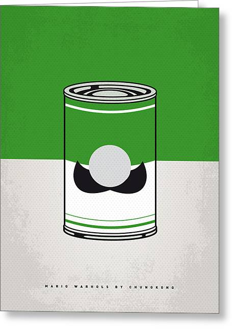 Levels Greeting Cards - My Mario Warhols Minimal Can Poster-luigi Greeting Card by Chungkong Art