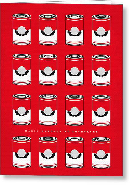 Level Greeting Cards - My Mario Warhols Minimal Can Poster-mario-2 Greeting Card by Chungkong Art