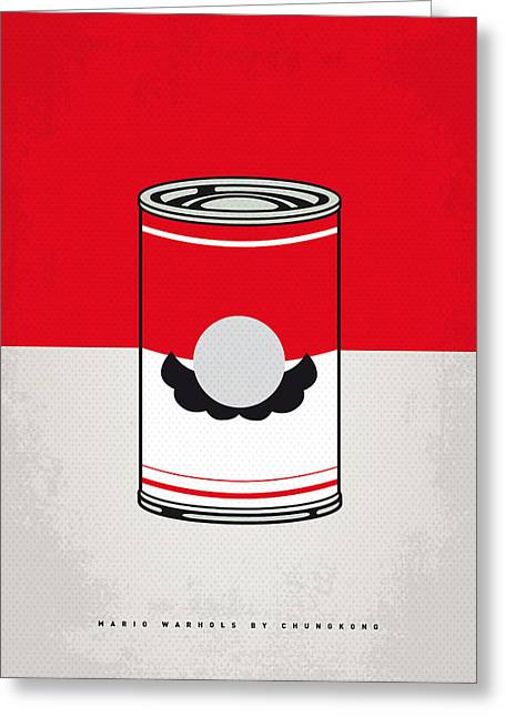 Character Design Greeting Cards - My Mario Warhols Minimal Can Poster-mario Greeting Card by Chungkong Art