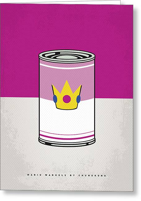 Character Design Greeting Cards - My Mario Warhols Minimal Can Poster-peach Greeting Card by Chungkong Art