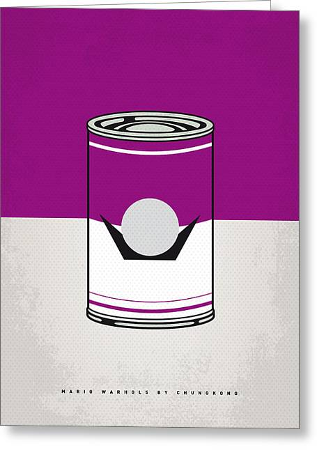Character Design Greeting Cards - My Mario Warhols Minimal Can Poster-waluigi Greeting Card by Chungkong Art